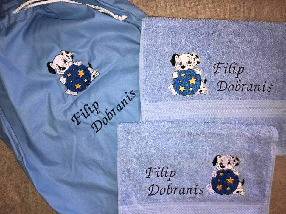 Embroidered set dalmatian puppy design