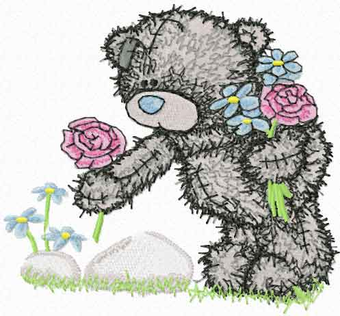 Teddy Bear collect flowers machine embroidery design