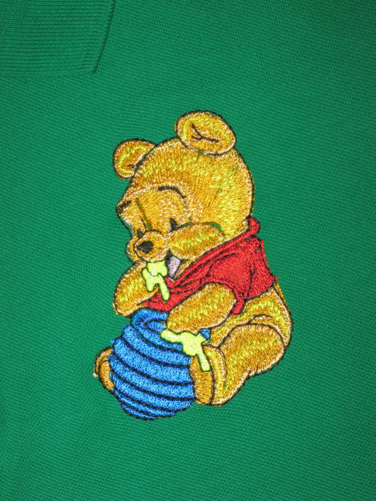 Baby Pooh design on t-shirt embroidered