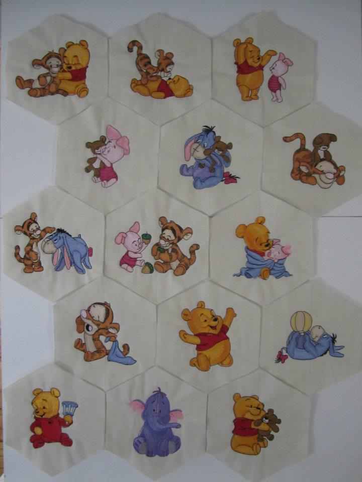 Baby Pooh and friends designs embroidered