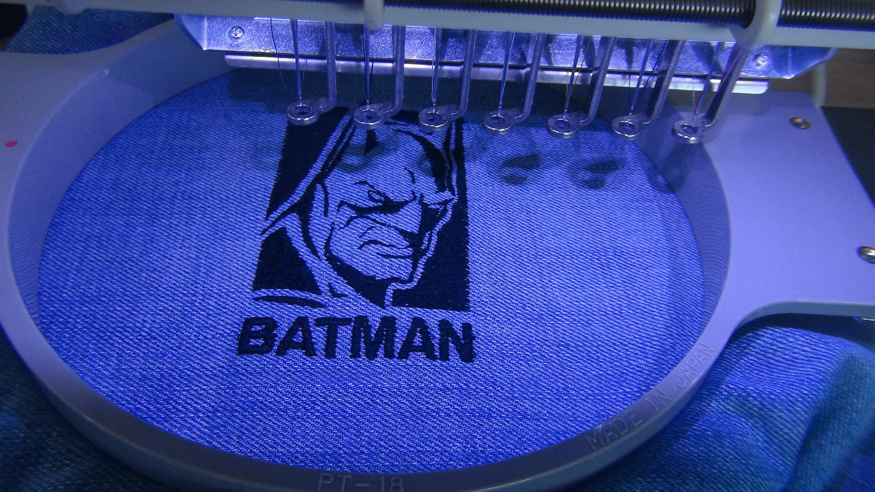 Batman Evil Fears The Knight design in embroidery hoop