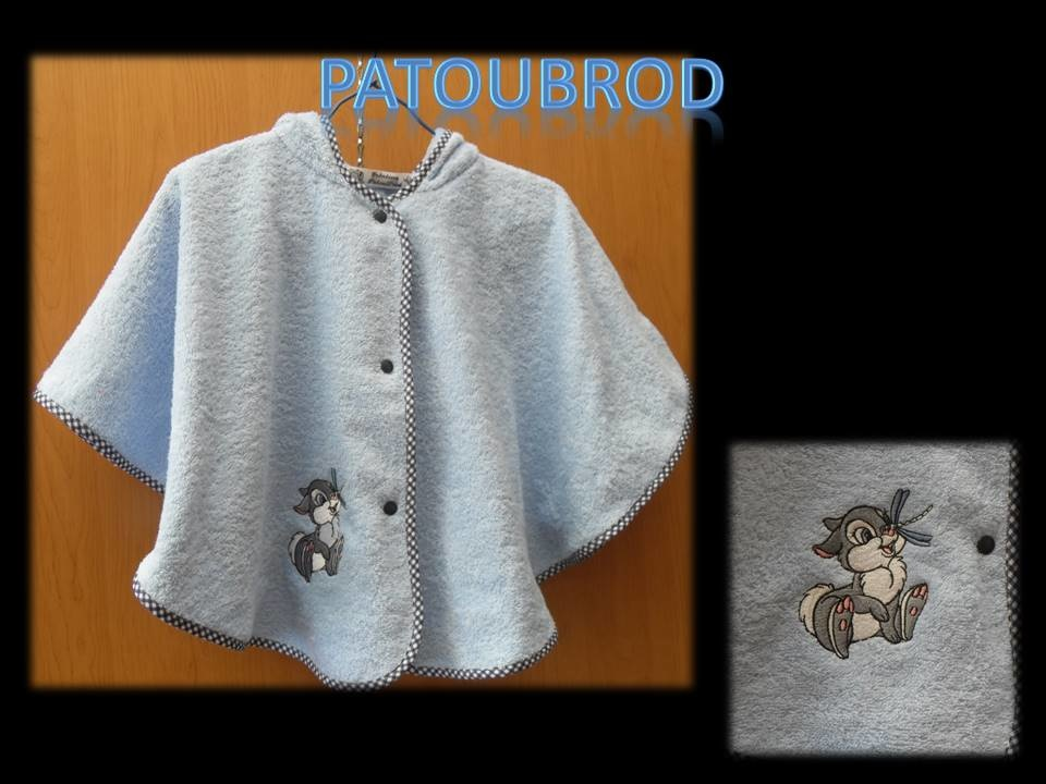 Poncho towel with embroidered fluffy bunny
