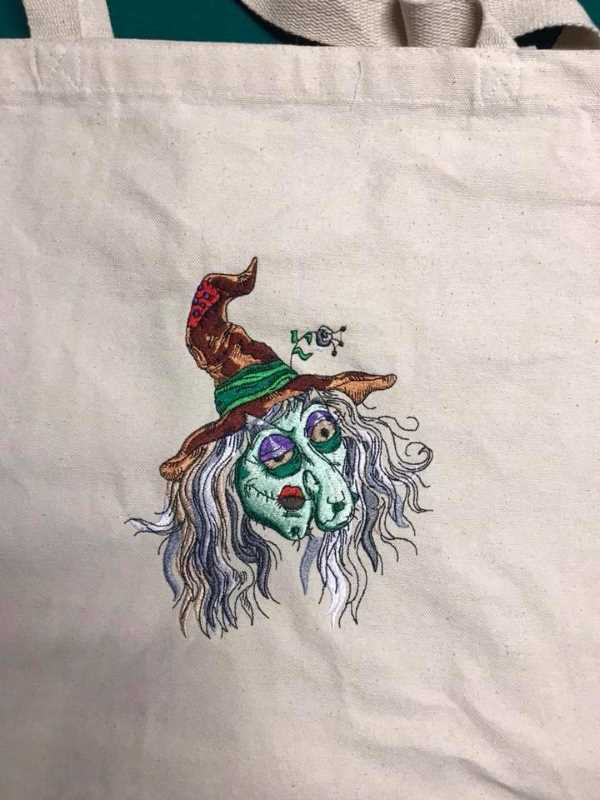 Halloween party bag with ugly witch embroidery design