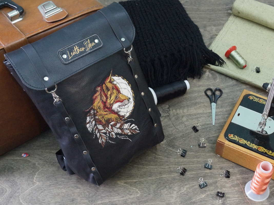 Adorable leather bag with fox dreamcatcher embroidery design