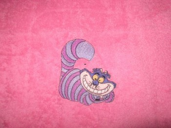 Girlish bath towel with embroidered cat