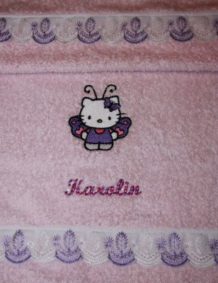 Butterfly Hello Kitty embroidered on towel