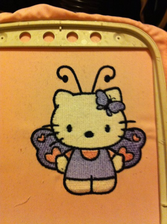 Hello Kitty butterfly design in embroidery hoop