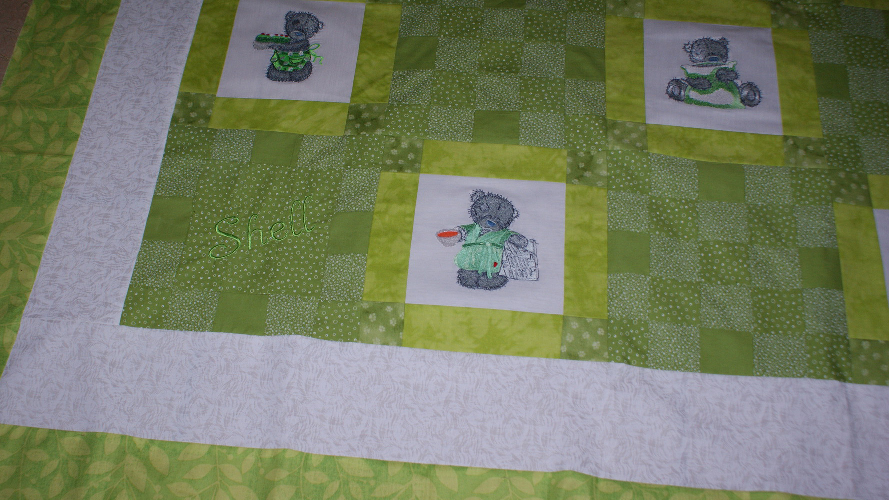 Teddy bear embroidery designs on soft  baby blanket