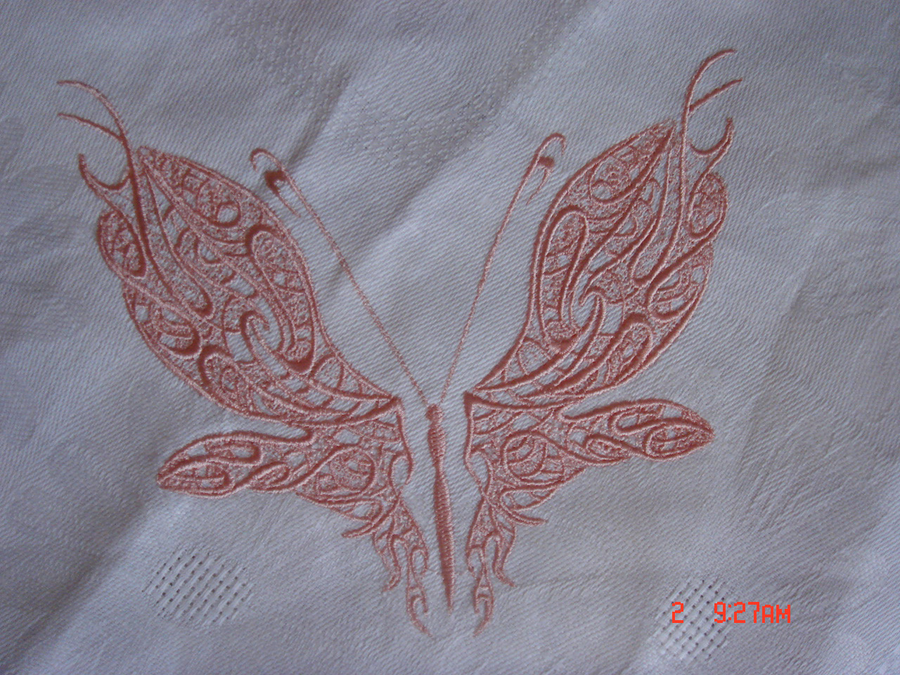 Queen forests design on table cloth embroidered