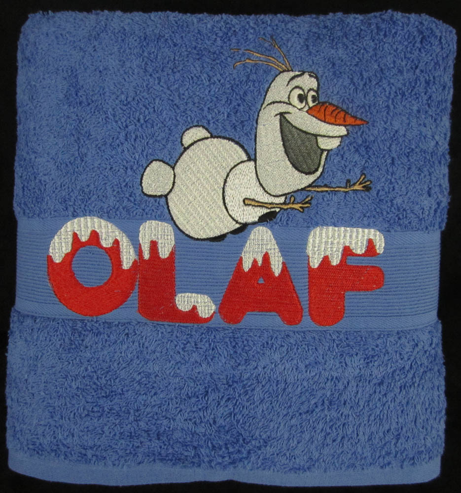 Towel embroidered with happy snowman