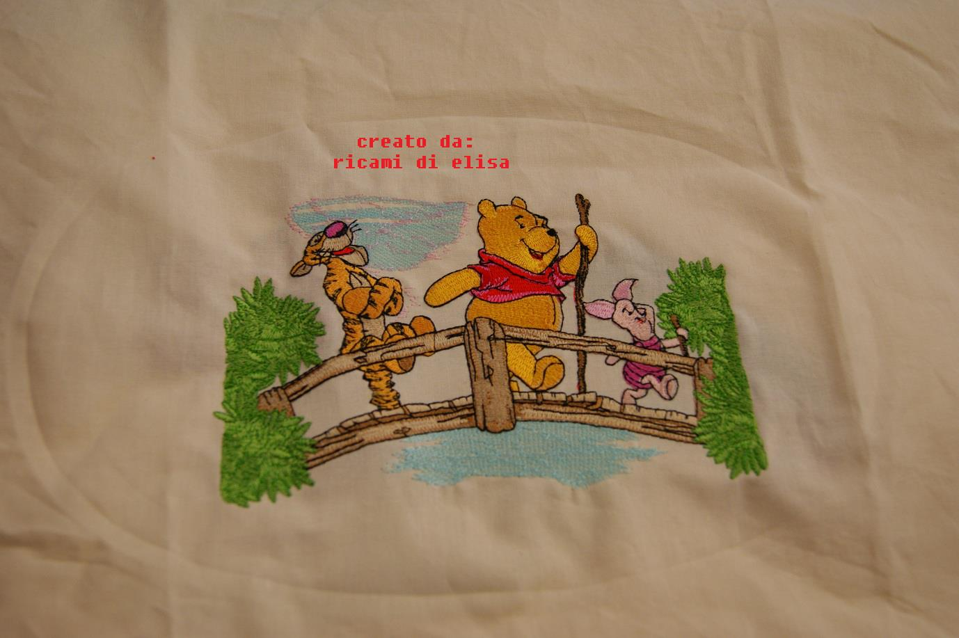 Winnie Pooh, Tigger and Piglet on the bridge design embroidered