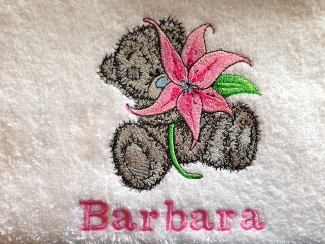 Cute towel with embroidered tatty teddy