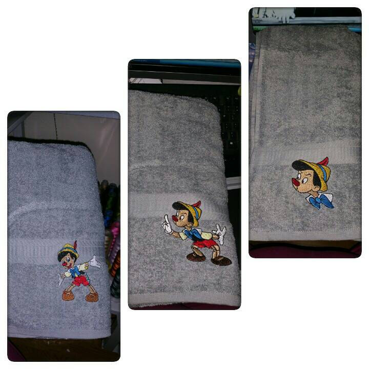 Pinocchio designs on towels embroidered