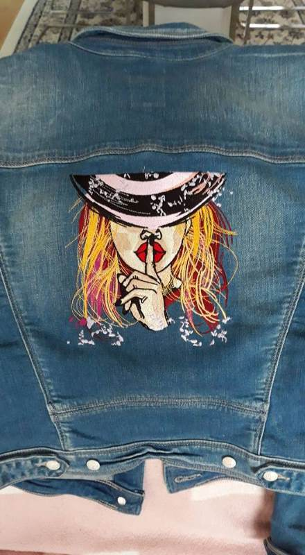 Denim jacket with red hair lady embroidery
