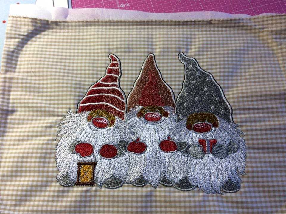After end embroidery process with Dwarves design