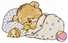 Good night little bear machine embroidery design