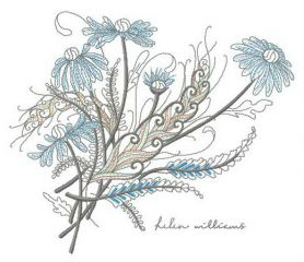 Bouquet of chamomiles machine embroidery design