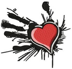 Heart in the palm of your hand 2 machine embroidery design