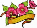 Apple Blossom Flower with Banner embroidery design
