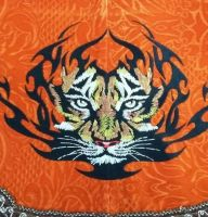 tablecloth with tribal tiger embroidery design