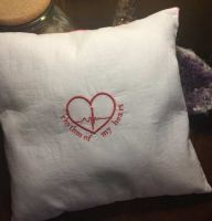 Embroidered romantic pillow with free heart design