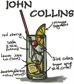 John Collins cocktail machine embroidery design