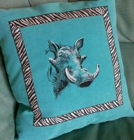 cushion with rhino embroidery