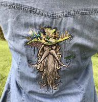 Denim women jacket with root man embroidery design