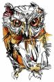 Wild owl embroidery design