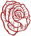 Red rose contour free machine embroidery design