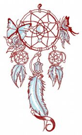 Dreamcatcher with butterflies machine embroidery design