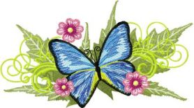 Blue butterfly with flowers free embroidery design