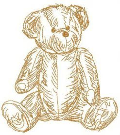 Old teddy toy 2 machine embroidery design