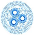 Blue round flower embroidery design