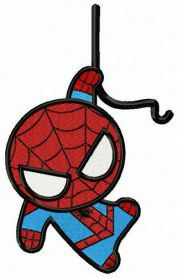 Spiderman hangs on rope machine embroidery design