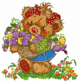 Teddy bear collecting flowers machine embroidery design