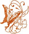 Orange vintage butterfly and flower embroidery design