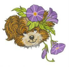 Puppy with Slender bindweed wreath