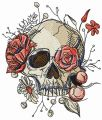 Skull overgrown with flowers 2 embroidery design