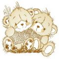 Bears on meadow embroidery design