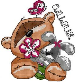 Teddy bear with bunny cross stitch free embroidery design