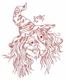 Ugly witch 2 machine embroidery design