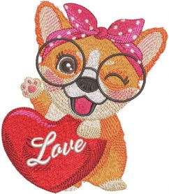 Corgi love embroidery design