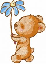 Walking Teddy with flower