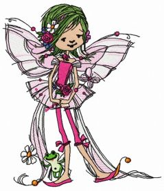 Young fairy with frog machine embroidery design