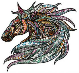 Mosaic horse machine embroidery design