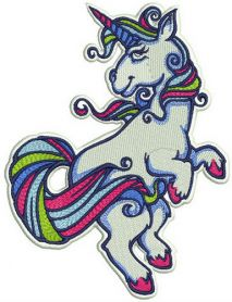 Unicorn with pink hooves machine embroidery design