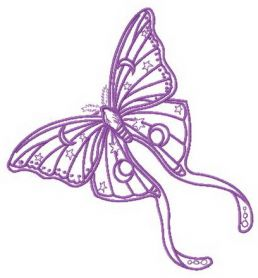 Purple stars and moons butterfly machine embroidery design