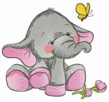 Elephant's touching acquaintance with butterfly