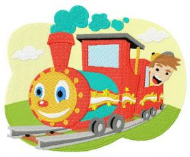 Kid's train machine embroidery design